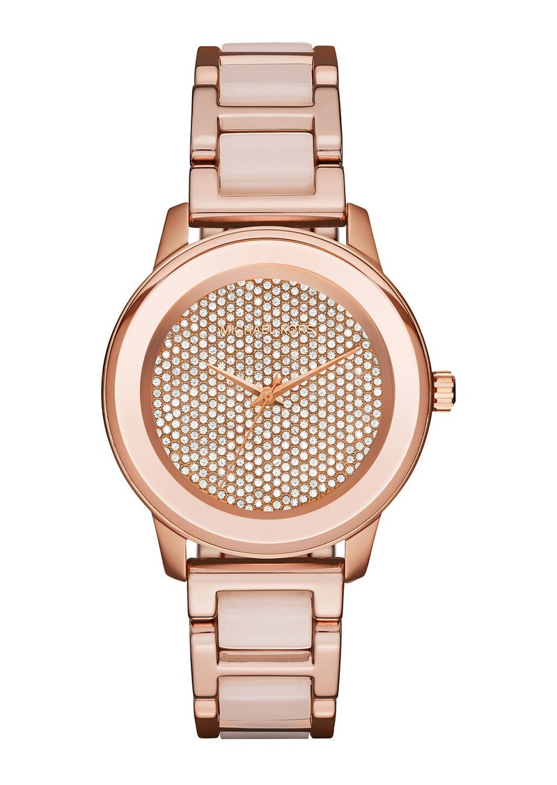 MICHAEL Michael Kors 38mm Kinley Crystal Bracelet Watch  Rose Golden