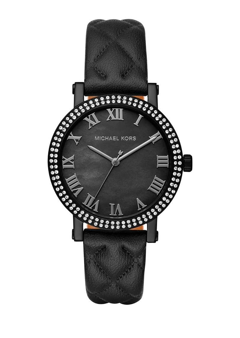 MICHAEL Michael Kors 38mm Norie Pave Watch w/ Quilted Leather Strap  Black