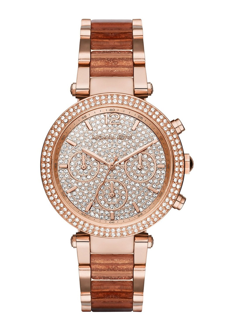 MICHAEL Michael Kors 39mm Crystal Parker Bracelet Watch  Rose Golden