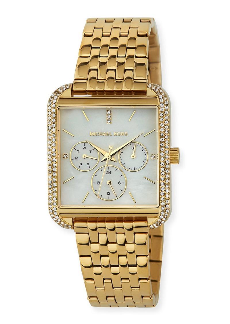 MICHAEL Michael Kors 39mm Drew Crystal Square Watch w/ Bracelet Strap  Gold