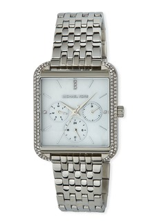 MICHAEL Michael Kors 39mm Drew Crystal Square Watch w/ Bracelet Strap  Silver