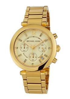 MICHAEL Michael Kors 39mm Parker Crystal Bracelet Watch  Golden