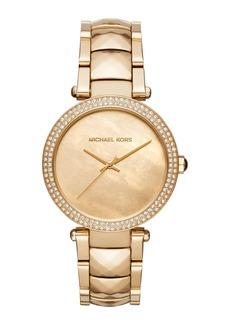 MICHAEL Michael Kors 39mm Parker Crystal Bracelet Watch  Yellow Golden