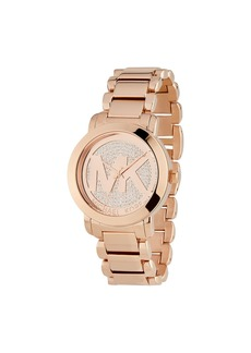 MICHAEL Michael Kors 40mm Crystal Pave Logo Bracelet Watch  Rose Golden