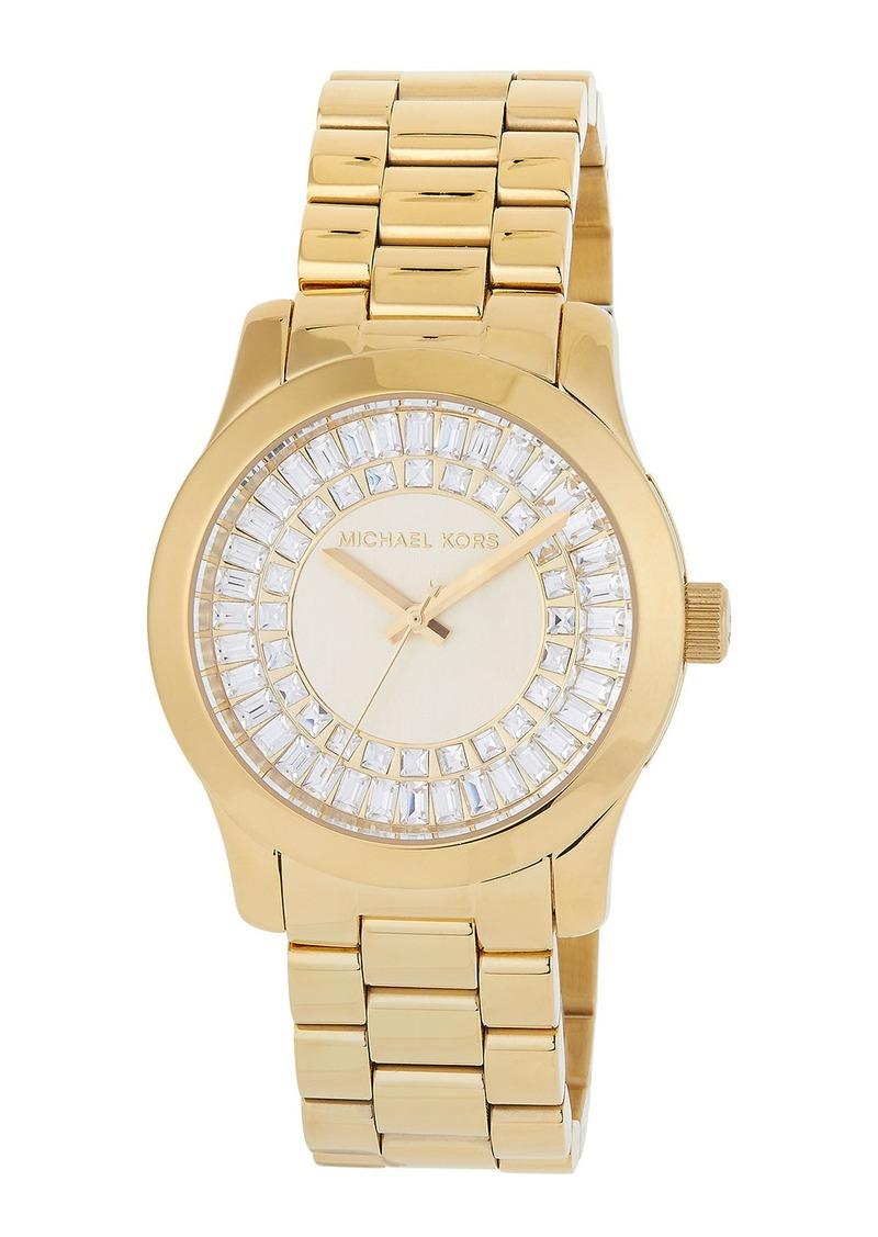 MICHAEL Michael Kors 40mm Runway Bracelet Watch w/ Baguettes  Golden