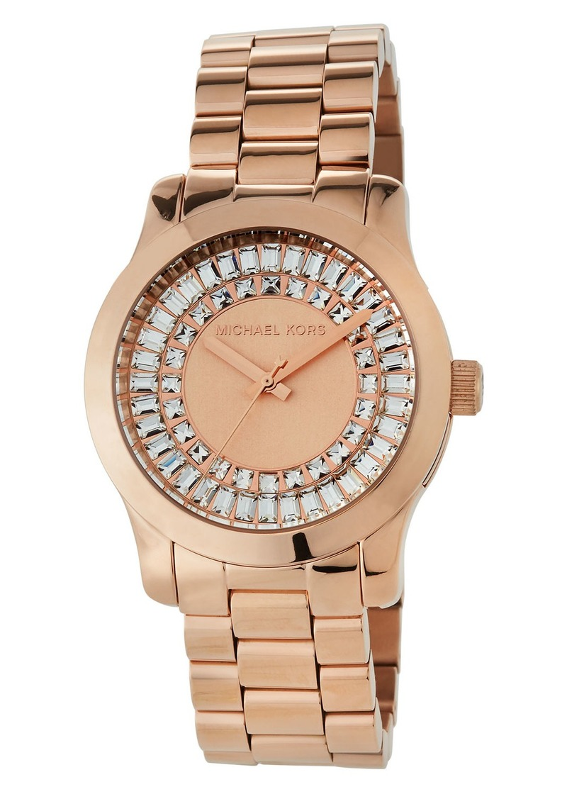 MICHAEL Michael Kors 40mm Runway Bracelet Watch w/ Baguettes  Rose Golden