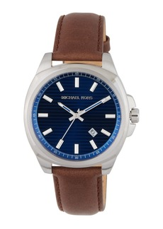 MICHAEL Michael Kors 42mm Bryson Leather Watch w/ Date  Navy/Brown