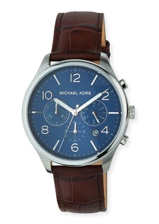 MICHAEL Michael Kors 42mm Merrick Chronograph Watch w/ Leather Strap  Brown/Blue