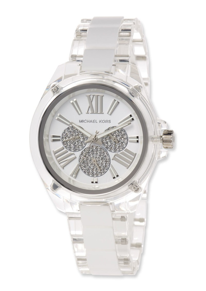 MICHAEL Michael Kors 42mm Wren Bracelet Watch with Silicone Links  Silver