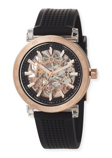 MICHAEL Michael Kors 43mm Greer Automatic Watch with Silicone Strap  Black