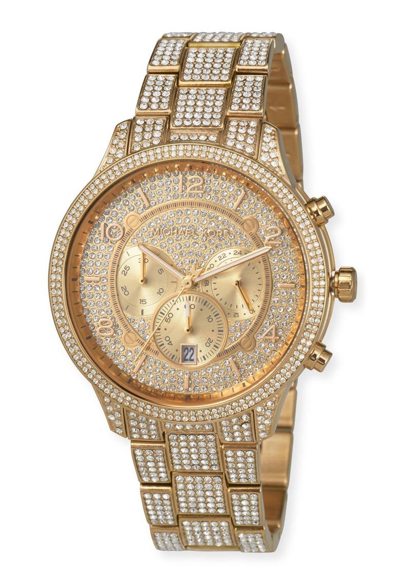MICHAEL Michael Kors 43mm Runway Glitz Watch with Bracelet  Gold