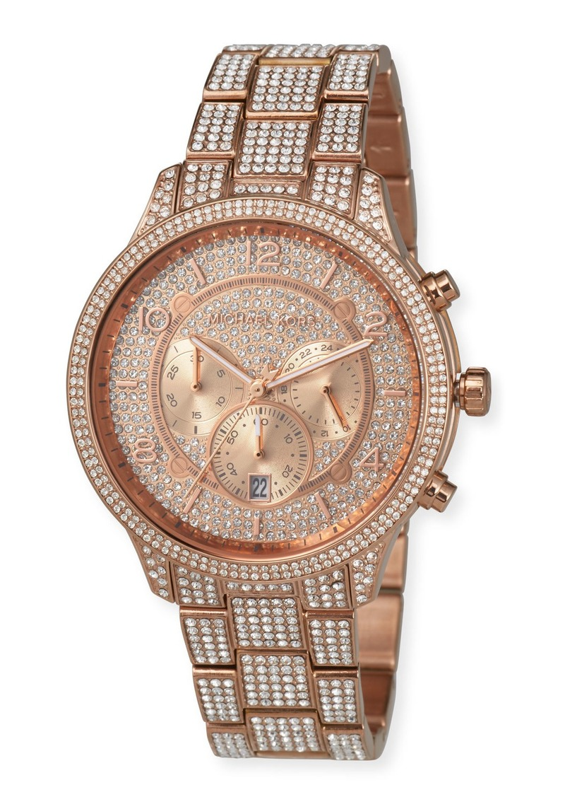 MICHAEL Michael Kors 43mm Runway Glitz Watch with Bracelet  Rose Gold
