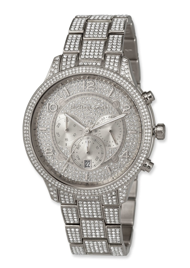MICHAEL Michael Kors 43mm Runway Glitz Watch with Bracelet  Silver