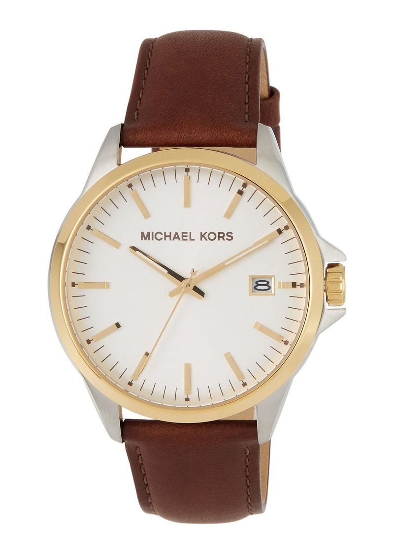 MICHAEL Michael Kors 44mm Leather Watch w/ Date  Gold/Brown