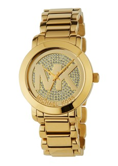 MICHAEL Michael Kors 45mm Crystal Pave Logo Bracelet Watch  Golden