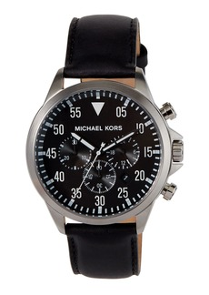 MICHAEL Michael Kors 45mm Gage Leather Strap Watch  Black