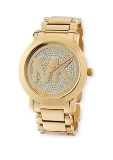 MICHAEL Michael Kors 45mm Pave Steel Bracelet Watch  Golden