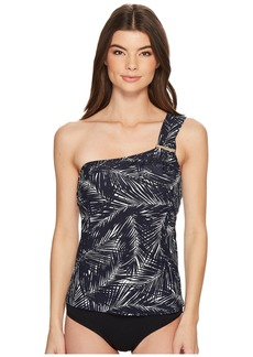 MICHAEL Michael Kors Abstract Palm Logo Bar One Shoulder Tankini Top w/ Removable Soft Cups