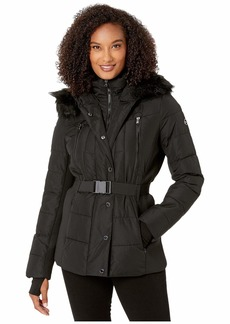 MICHAEL Michael Kors Active Jacket with Logo Belt and Hood A420380TZ