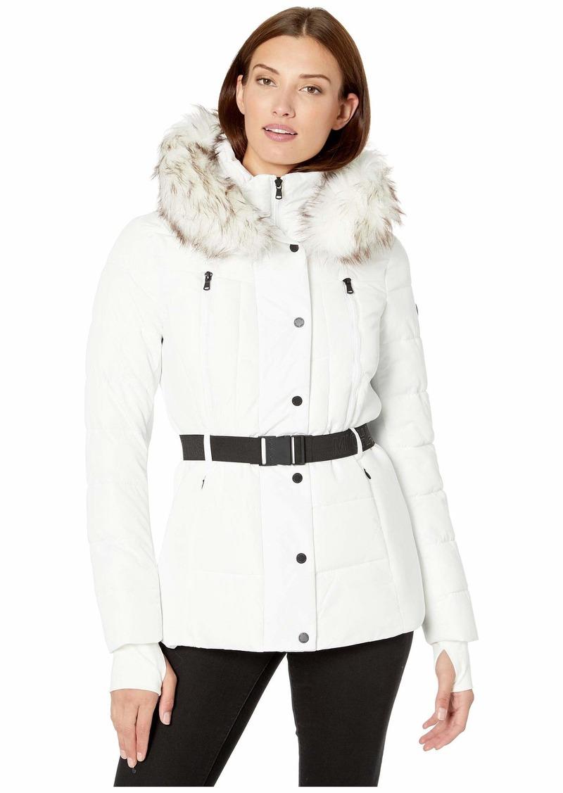 MICHAEL Michael Kors Active Jacket with Logo Belt and Hood A420380TZ