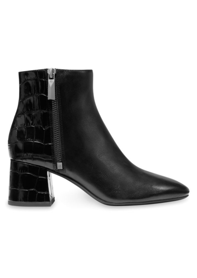 Alane Flex Croc-Embossed Leather Ankle Boots