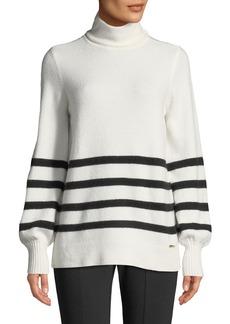 MICHAEL Michael Kors Alpaca Wool-Blend Striped Turtleneck Sweater