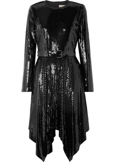 MICHAEL Michael Kors Asymmetric Belted Sequined Georgette Dress