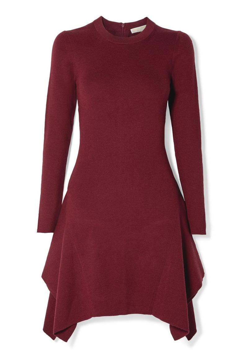 Asymmetric Ribbed-knit Mini Dress