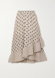 MICHAEL Michael Kors Asymmetric Ruffled Silk-blend Jacquard Midi Skirt