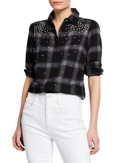 MICHAEL Michael Kors Beaded Plaid Button-Down Shirt