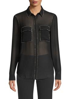 MICHAEL Michael Kors Beaded-Trim Button-Down Shirt
