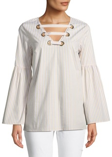 MICHAEL Michael Kors Bell-Sleeve Lace-Up Front Blouse