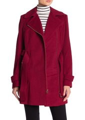 MICHAEL Michael Kors Belted Asymmetrical Zip Wool Blend Coat