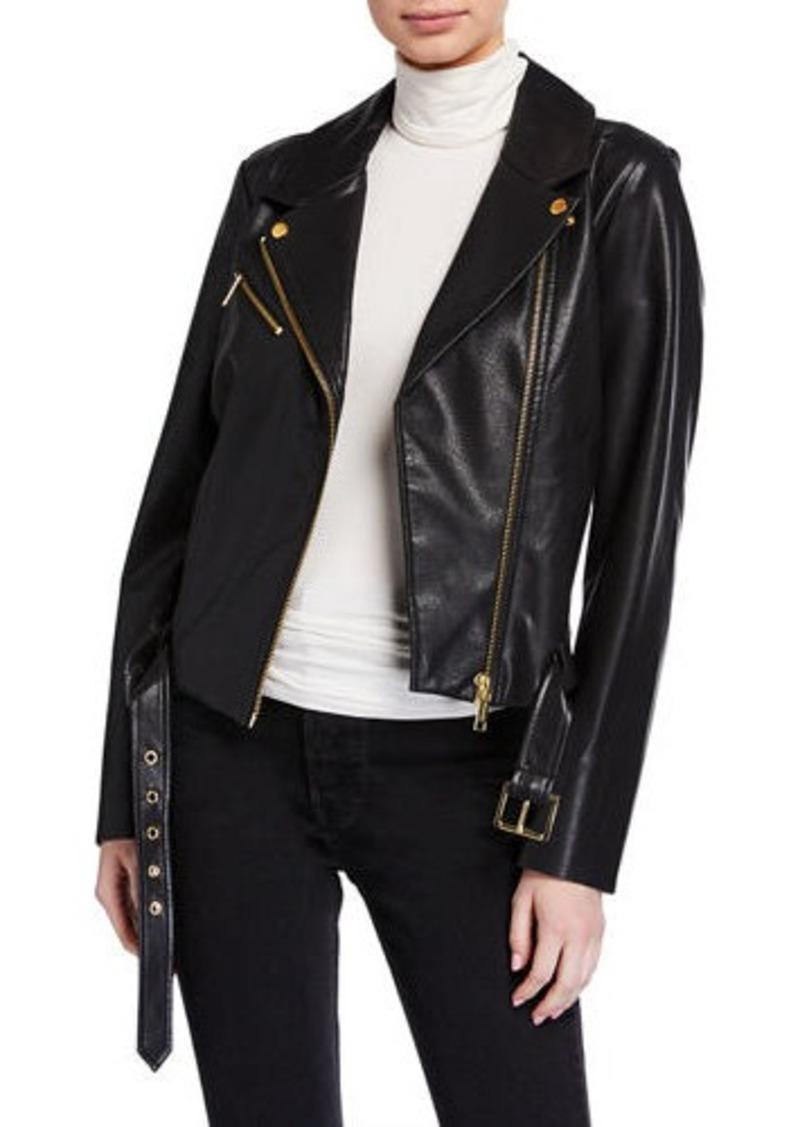 MICHAEL Michael Kors Belted Leather Moto Jacket