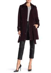 MICHAEL Michael Kors Belted Leather Trim Wool Blend Hooded Coat