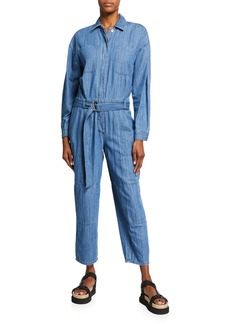 MICHAEL Michael Kors Belted Long-Sleeve Chambray Jumpsuit