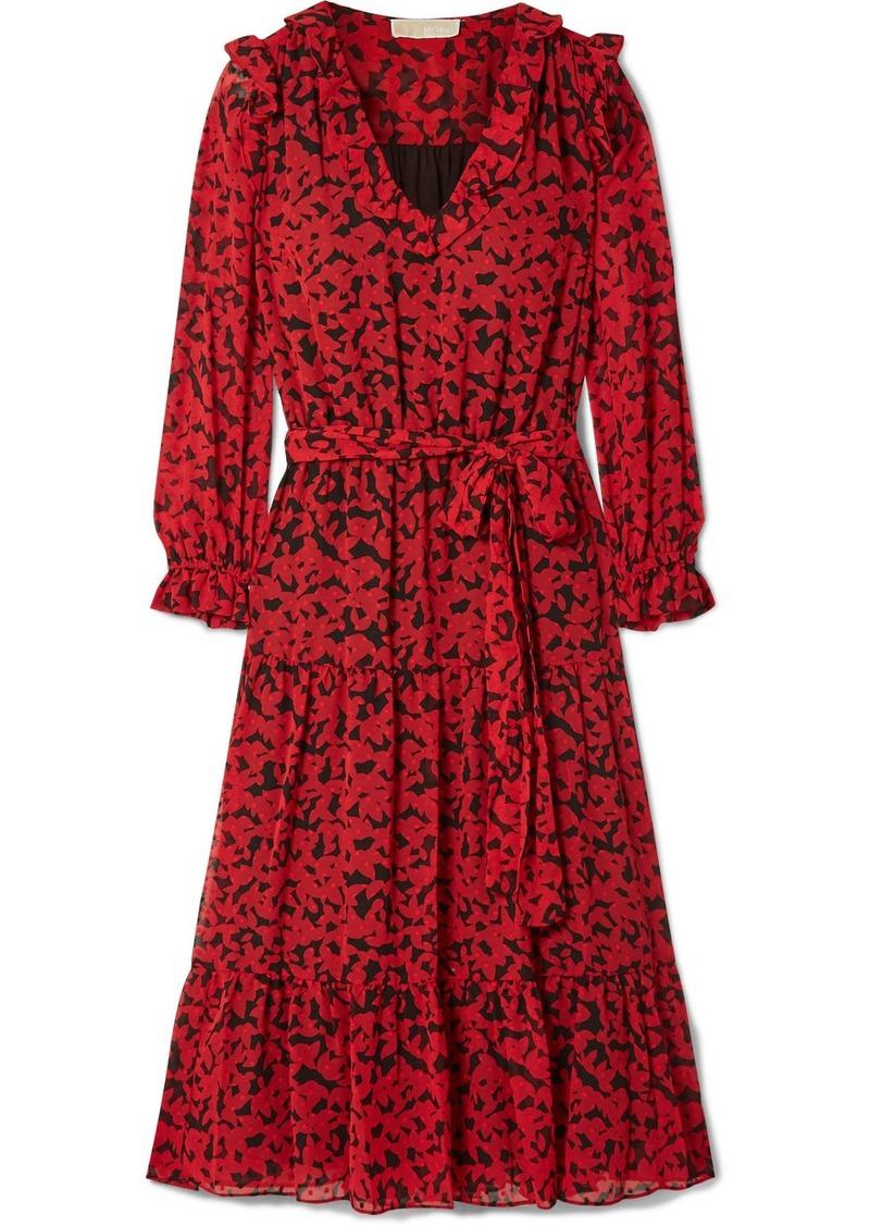 MICHAEL Michael Kors Belted Printed Fil Coupé Georgette Midi Dress