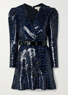 MICHAEL Michael Kors Belted Sequined Jersey Mini Dress