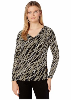 MICHAEL Michael Kors Bias Link Cowl Long Sleeve Top