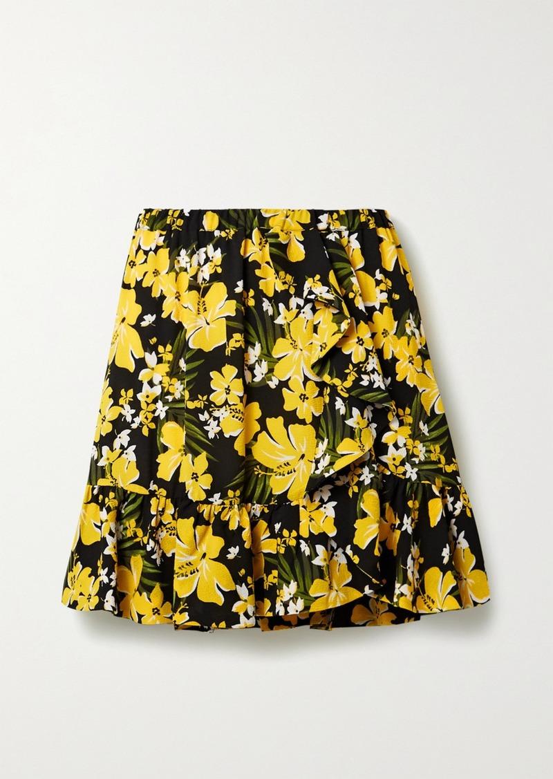 MICHAEL Michael Kors Bold Bliss Ruffled Floral-print Crepe Mini Skirt