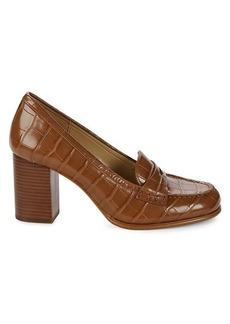 MICHAEL Michael Kors Buchanan Block-Heel Croc-Embossed Penny Loafers