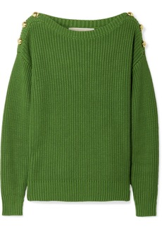 MICHAEL Michael Kors Button-embellished ribbed cotton-blend sweater