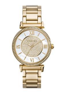MICHAEL Michael Kors Caitlin Rhinestone Golden Stainless Steel Watch