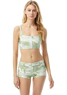 MICHAEL Michael Kors Camo Zip Front Bralette with Removable Soft Cups