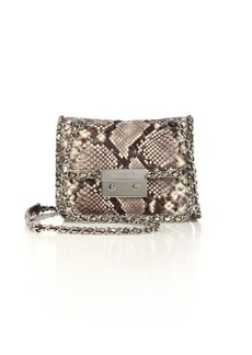 Carine Medium Quilted Snake-Embossed Leather Shoulder Bag