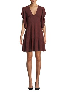 MICHAEL Michael Kors Cascade-Sleeve V-Neck Dress