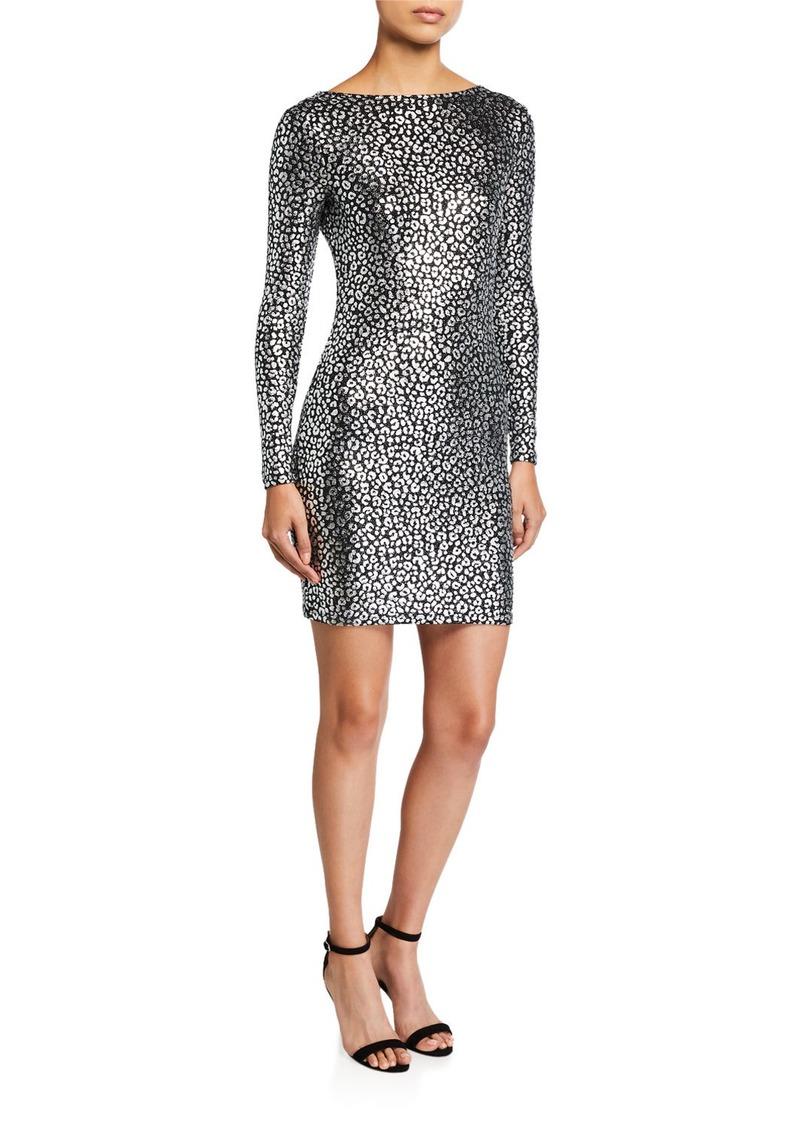 MICHAEL Michael Kors Catty Foiled Cowl-Back Long-Sleeve Dress