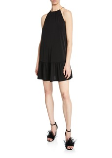 MICHAEL Michael Kors Chain Halter Mini Dress with Ruffle Hem