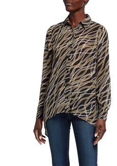 MICHAEL Michael Kors Chain Long-Sleeve Button-Down Handkerchief Hem Top