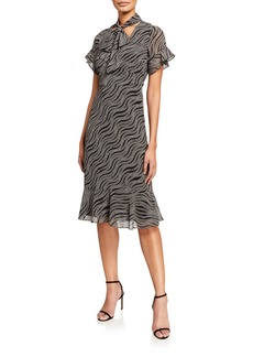 MICHAEL Michael Kors Chain Mix Tie-Neck Flounce Dress